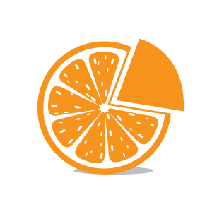 Orange slice with pie piece